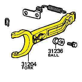Clutch Release Fork, 4/85-8/87 Toyota Land Cruiser FJ60 Drawing