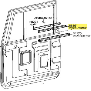 Weatherstrip, Door Glass, Outer, 63-1/75 Toyota Land Cruiser
