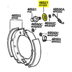 Guide, Parking Brake Shoe, FJ40 FJ45 FJ55 HJ45 HJ47 BJ40 1