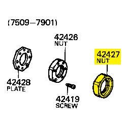 Lock Nut, Rear Axle Bearing, 76-79 FJ HJ45 BJ, Outer