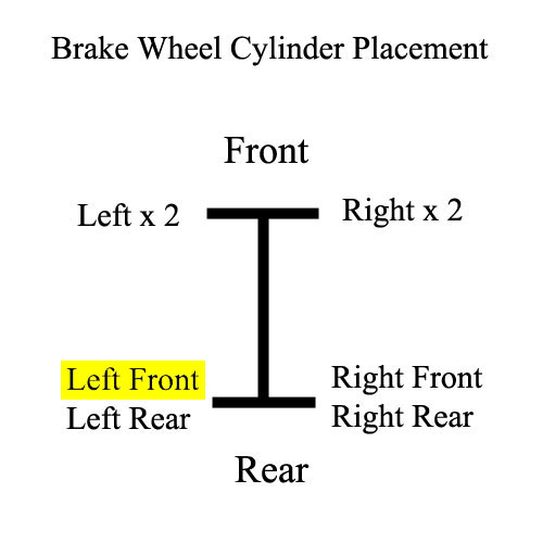 Wheel Cylinder, Rear - Left Front, 71 FJ40 Placement