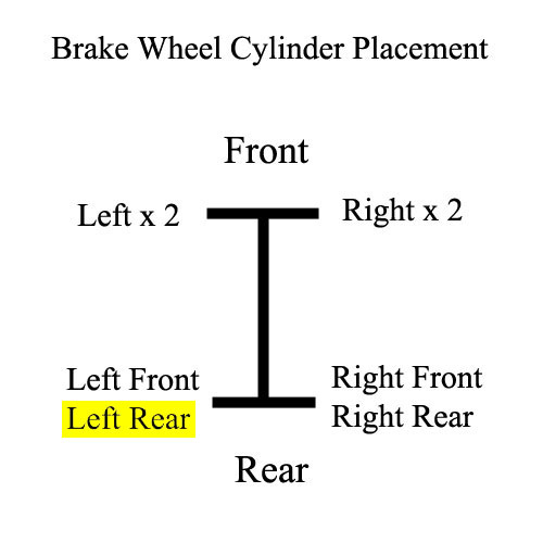Wheel Cylinder, Rear - Left Rear, 71 FJ40 Placement