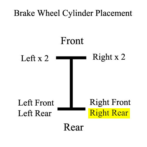 Wheel Cylinder Placement, 63-7/70 FJ40, Rear; Right Rear